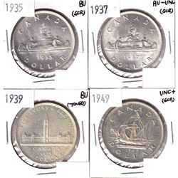 1935,1937, 1939 & 1949 Silver Dollar AU-UNC or Better (Toned/Scratched)
