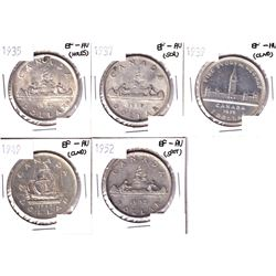 1935,1937,1939,1949 & 1952 Silver Dollar EF-AU. Coin contains carious imperfections. Please view ima