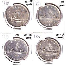 1949,1951,1953 & 1957 Canada Silver Dollar VF-EF Or Better Condition. Coins contain various imperfec