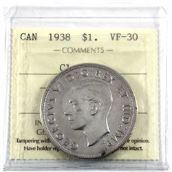 1938 Canada Silver Dollar ICCS Certified VF-30 (cleaned)
