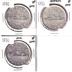 1950, 1950 Arnprior & 1950 SWL Silver Dollar EF (scratched). 3pcs