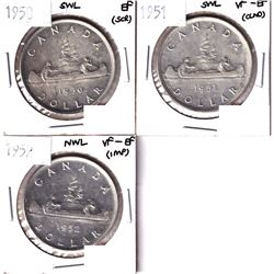 1950 SWL, 1951 SWL & 1952 NWL Silver Dollar VF-EF or Better Condition.  Coins contain various imperf