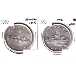 1952  AU-UNC & 1952 NWL AU Silver Dollar (scratched). 2pcs