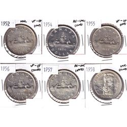 1952 NWL, 1954, 1955,1956,1957 & 1958 Canada Silver Dollar VF-EF or Better. Coins contain various im