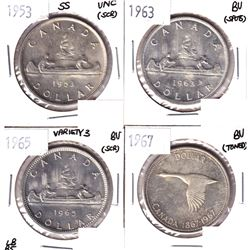 1953 SS, 1963,1965 Variety 3 LB blunt 5 & 1967 silver Dollar UNC/BU condition. 4pcs