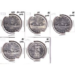 1953 NSS, 1953 SS, 1955, 1957 & 1958 Canada Silver Dollar  in AU and Better Condition.  Coins contai