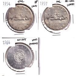 1954 SWL EF, 1957 1 waterline AU-UNC & 1964 No Dot UNC Silver Dollars. Coins contain various imperfe
