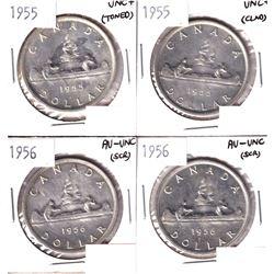 2x 1955 & 2x 1956 Silver Dollar AU-UNC/UNC+ condition. Coins contain various imperfections. Please v