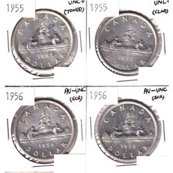 2x 1955 & 2x 1956 Silver Dollar AU-UNC/UNC+ condition. Coins contain various imperfections. Please v