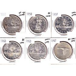 1957, 1958,1959,1960,1963 & 1967 Canada Silver Dollar VF-EF or Better Condition. Coin contains vario