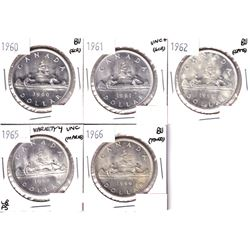 1960,1961,1962,1965 Variety 4 & 1966 Canada Silver Dollar in UNC or Better Condition. Coin contains