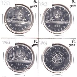 1960, 1962,1963 & 1964 Canada Silver Dollar in Proof-like (impaired/scratched)4 pcs