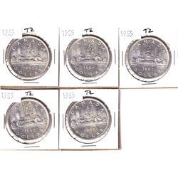 5x 1965 Canada Silver Dollar Type 2. 5pcs