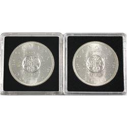 1964 & 1964 No Dot Silver Dollar. 2pcs