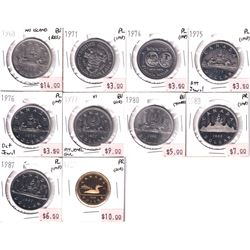 1968-1989 Canada Nickel/Loon Dollars in Proof, Proof-Like & BU condition. Coins contain various impe