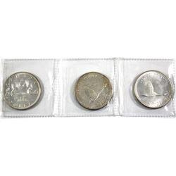 1966 & 2x 1967 Canada Silver Dollars. 3pcs