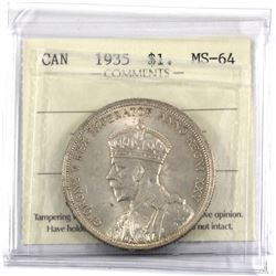 1935 Silver Dollar ICCS Certified MS-64