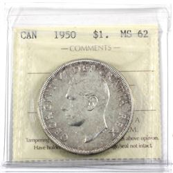 1950 SWL Silver Dollar ICCS Certified MS-62