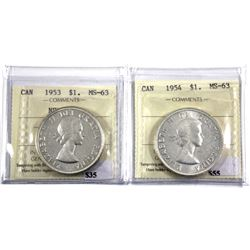 1953 NSF & 1954 Silver Dollar ICCS Certified MS-63. 2pcs
