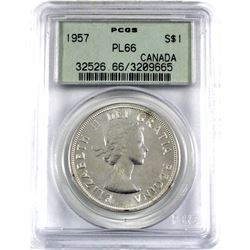 1957 Canada Silver $1 PCGS Certified PL-66.