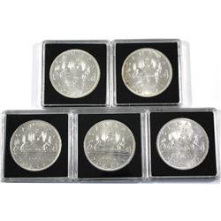 5x All variety 1965 Canada Silver Dollars. 5pcs