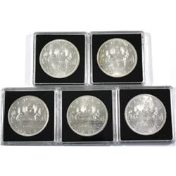 5x All variety 1965 Canada Silver Dollars. 5pcs