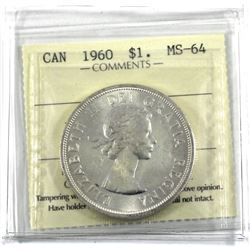 1960 Canada silver Dollar ICCS Certified MS-64