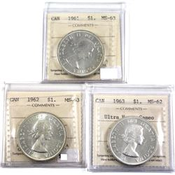 1961,1962,1963 Ultra Heavy Cameo Silver Dollar ICCS Certified MS62/63. 3pcs