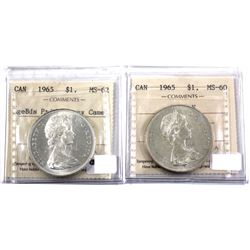 1965 Lgebds Pointed 5  Heavy Cameo  MS-62 & 1965 Type V ICCS Certified MS-60. 2pcs