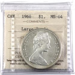 1966 Large Beads Silver Dollar ICCS Certified MS-64