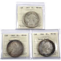 1963, 1965 SmBds  Ptd 5 & 1966 Large Beads Silver dollar ICCS Certified MS-64. 3pcs
