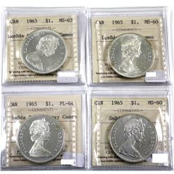 4x 1965 Silver Dollar Varieties: 1965 Lgebds Blt 5 ; Heavy Cameo MS-63, 1965 LgeBds pointed 5; Cameo