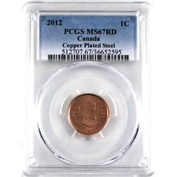 1-cent 2012 PCGS Certified MS-67 RED!  Mint Logo below Queen's Bust,  This is a Magnetic copper plat