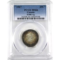"""25-cent 1967 PCGS Certified MS-66. This is a .800 Fine version, coin has """"bullseye toning"""" with soft"""