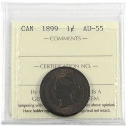 1899 1-Cent ICCS Certified AU-55. Repunch 9, (not mentioned on holder) Coin has trace red throughout