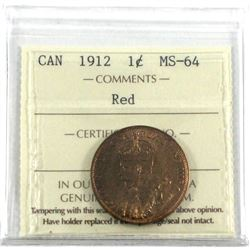1912 1-cent ICCS Certified MS-64 RED! A nice original coin with soft orange fields.