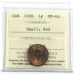 1920 1-cent small,  ICCS Certified MS-64 RED! First year for the Canadian Small cents, this coin has