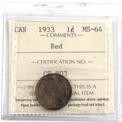 1933 1-cent ICCS Certified MS-64 RED. A lustrous coin that is a mixture of RED & Brown tones.  (smal