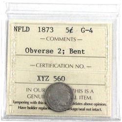Newfoundland 1873 5-cent ob.. 2, ICCS Certified G-4.  (bent) *Key Date*