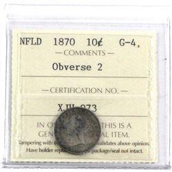 Newfoundland 1870 10-cent Ob.. 2, ICCS Certified  G-4 *Key Date*