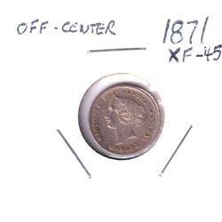 5-cent 1871 in about EF-AU Condition