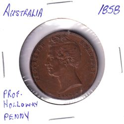 """1858 Australia Penny Token featuring Professor Holloway. Reverse: """"Holloways Pills and Ointment"""". Me"""