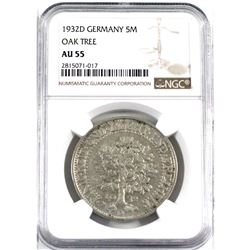 """Germany 1932D Silver 5 Mark """"Oak Tree"""" NGC Certified AU-55. A bright commemorative coin with an attr"""