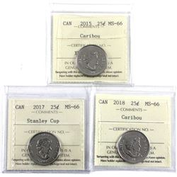 Group Lot of 3x 25-cent all ICCS Certified MS-66. Lot includes: 2015 Caribou, 2017 Stanley Cup, & 20