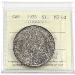 1935 Silver $1.00 ICCS certified MS-63. Appears to be an end of roll coin with the reverse a near fu