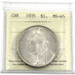 1935 Silver $1.00 ICCS certified MS-65. A near full white coin with soft satin finishes.