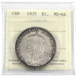 1935 Silver $1.00 ICCS certified MS-64. An attractive original coin with deep tones just around the