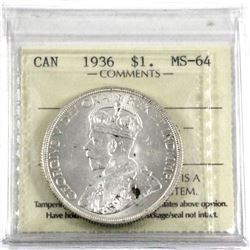 1936 Silver $1.00 ICCS certified MS-64. A bright white coin with a few spots of toning.