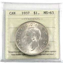 1937 Silver $1.00 ICCS certified MS-63. First year of George the 6th. This is a nice soft white coin