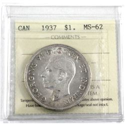 1937 Silver $1.00 ICCS certified MS-62. An Attractive coin with strong strike details.